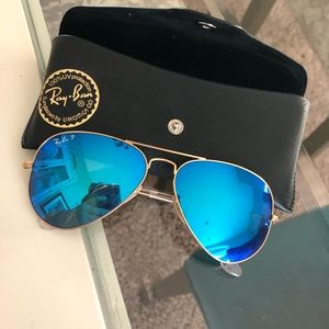 Polarized Ray-ban aviators blue flash lenses